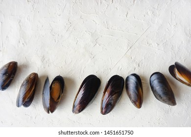 raw mussels on white background, clams, top view, flat lay, copy space, image horizontal orientation 