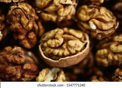 raw nut peeled whole kernels of walnuts harvest