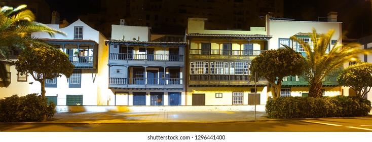 Raw of old houses with color balcones in the street in Santa Cruz de La Palma, Canary Islands