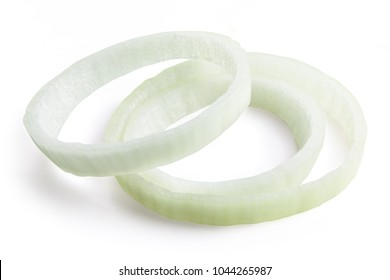 Raw onion slice rings isolated on white background Clipping Path