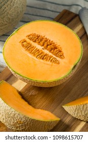 Raw Orange Organic Cantaloupe Cut into Slices