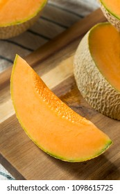 Raw Orange Organic Cantaloupe Cut into Slices