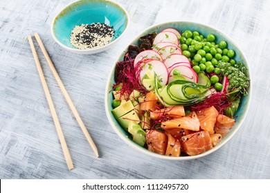 Raw Organic Ahi Salmon Poke Bowl.  Top view