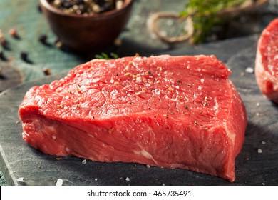 Raw Organic Grass Fed Sirloin Steak with Salt and Pepper