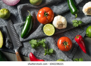 Raw Organic Healthy Mexican Vegetables and Herb Ingredients