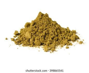 raw organic hemp protein powder isolated on white