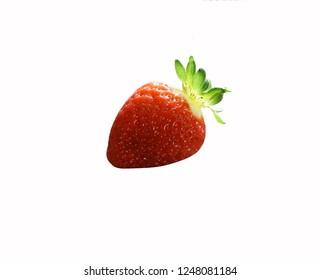 Raw Organic Perfect Ripe Isolated Strawberry on White Background