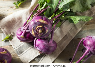 Raw Organic Purple Kohlrabi Ready to Eat