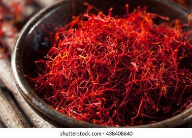 Raw Organic Red Saffron Spice in a Bowl