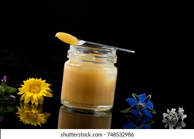Raw organic royal jelly in a small bottle with litte spoon on small bottle on black background, France