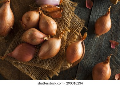 Raw Organic Spicy Shallots on a Background