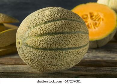 Raw Organic Tuscan Melon Cantaloupe Cut into Pieces