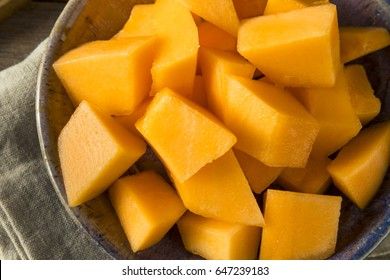 Raw Organic Tuscan Melon Cantaloupe Cut into Pieces