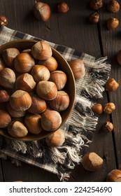 Raw Organic Whole Hazelnuts in a Bowl