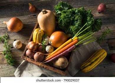 Raw Organic Winter Farmers Market Box with Potatoes Garlic Onion Squash and Kale
