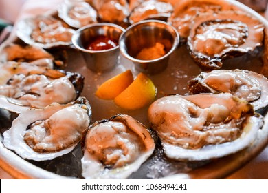 Raw oysters in New Orleans, Louisiana.
