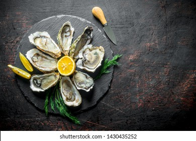 Raw oysters on a round stone Board with lemon. On dark rustic background
