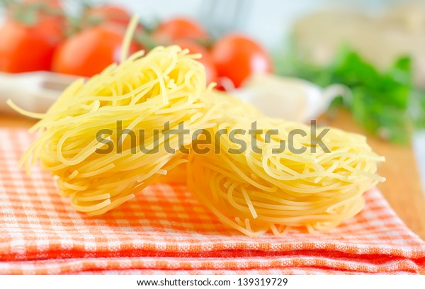 raw pasta and aroma spice