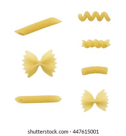 raw pasta different  shape isolated set closeup