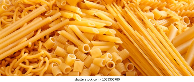 raw pasta forming a background