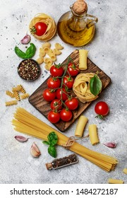 Raw pasta with ingredients for cooking. Food concept. Italian food