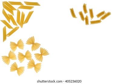 Raw pasta on a white background.