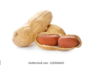 Raw peanuts on white background. Healthy snack