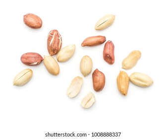 Raw peanuts top view isolated on white background (shelled, husk, whole, halves)