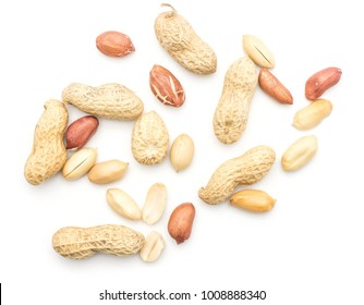 Raw peanuts top view isolated on white background (unshelled, shelled, husk, whole, halves)