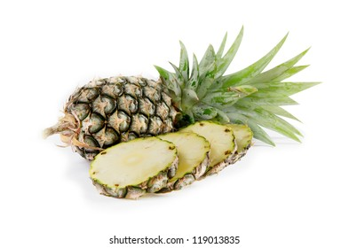 raw  pineapple and  sliced  pineapple  on white