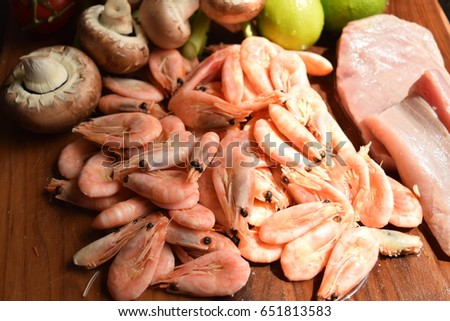 Raw Pink Shrimp On Wooden Board Stock Photo Edit Now 651813583
