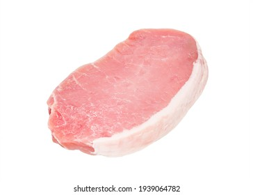 raw pork loin on a white background