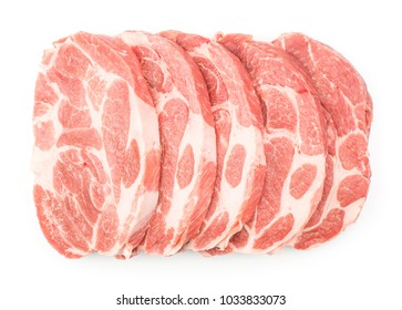 Raw pork neck meat cuts top view isolated on white background fresh five slices without bone