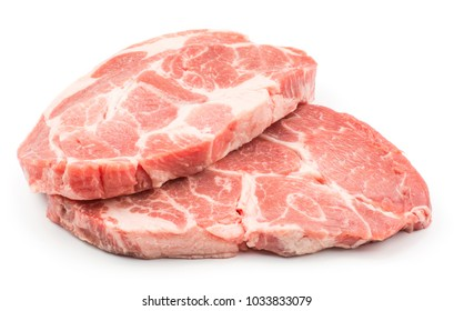 Raw pork neck meat cuts isolated on white background fresh two slices without bone