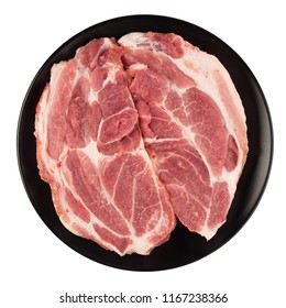 Raw pork neck meat cuts on a plate top view isolated on white background fresh two