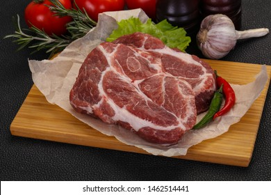 Raw pork neck steak ready for cooking