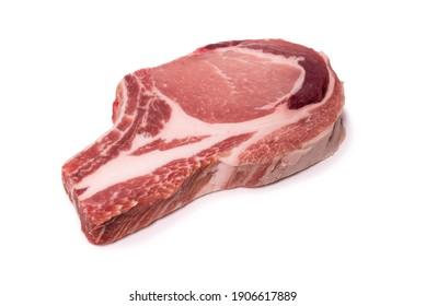 Raw pork steak isolated on white background.