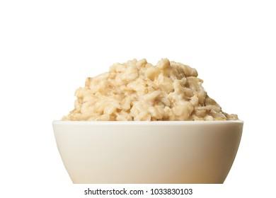 Raw porridge. White background. Welded porridge