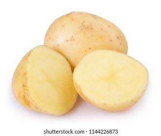 raw potato isolated on white background
