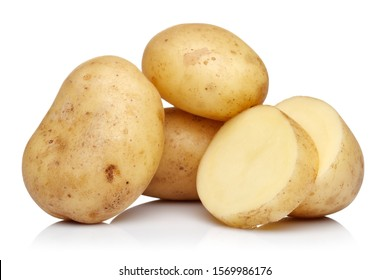Raw potatoes isolated on white background