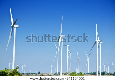Raw Power Energy Wind Turbines Produce Electricity Stock
