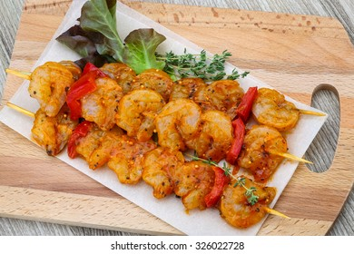 Raw prawn skewer with spices ready for bbq