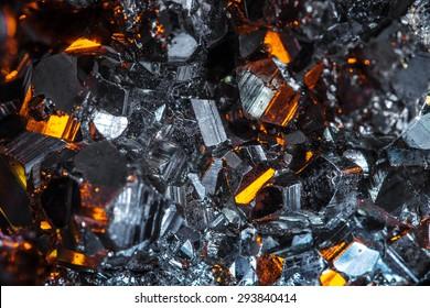Raw pyrite crystals close-up
