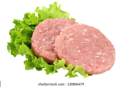 Raw rabbit burgers with leaves of lettuce isolated on white