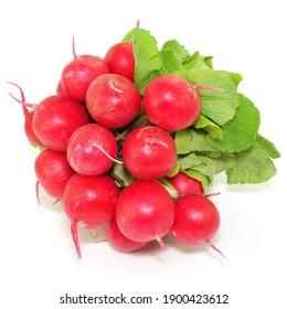 Raw radishes on white background, isolated.