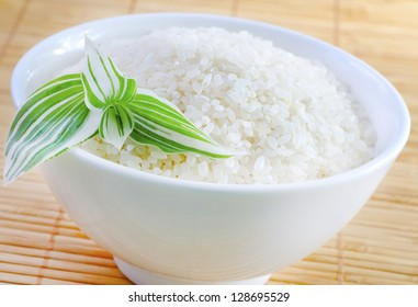 Raw rice in the white boawl