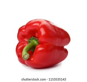 Raw ripe paprika pepper on white background