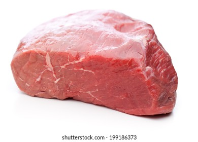 A raw roast beef isolated on white background