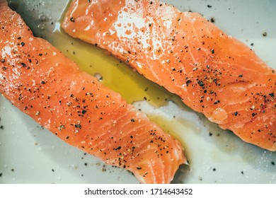 raw Salmon filet spice with salt and pepper