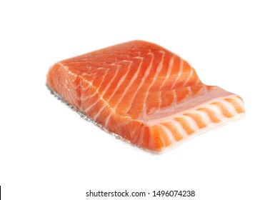 Raw Salmon Fillet Isolated on White Background. Thick Piece of Red Trout